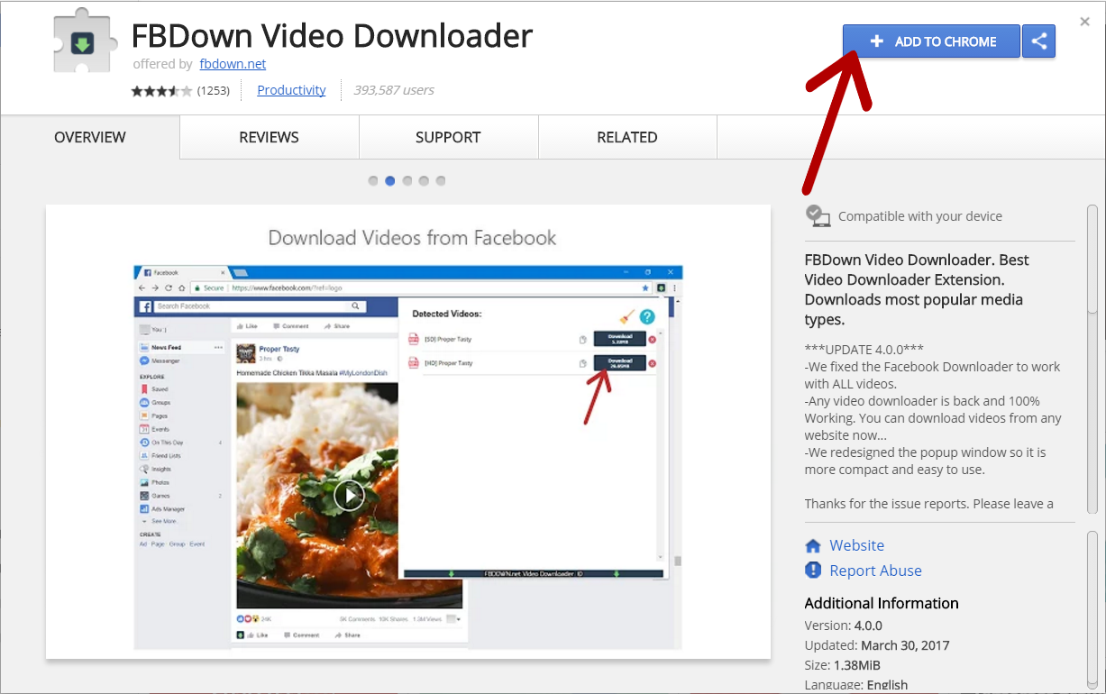 video da facebook estensione chrome